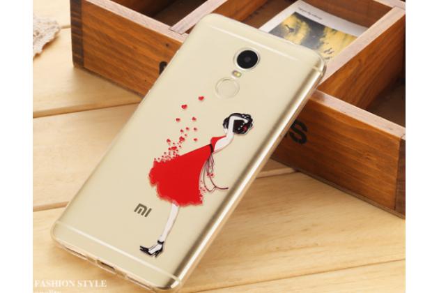 """Фирменная задняя панель-чехол-накладка из прозрачного 3D  силикона с  объёмным рисунком для Xiaomi Redmi Note 4 тематика """"элегантная девушка"""" которая огибает логотип чтобы была видна марка телефона"""