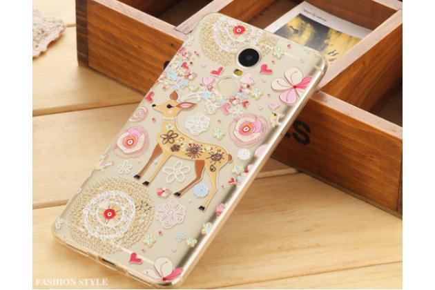 """Фирменная задняя панель-чехол-накладка из прозрачного 3D  силикона с  объёмным рисунком для Xiaomi Redmi Note 4 5.5"""" тематика """"оленя в цветах"""" которая огибает логотип чтобы была видна марка телефона"""