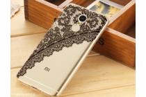 """Фирменная задняя панель-чехол-накладка из прозрачного 3D  силикона с объёмным рисунком для Xiaomi Redmi Note 4 5.5""""  """"тематика Черное кружево"""" которая огибает логотип чтобы была видна марка телефона"""
