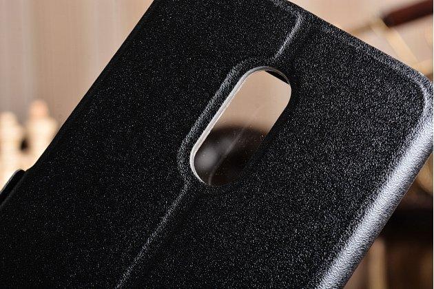 """Фирменный чехол-книжка для Xiaomi Redmi Note 4 5.5"""" из качественной импортной кожи черный с окошком для входящих вызовов и свайпом"""