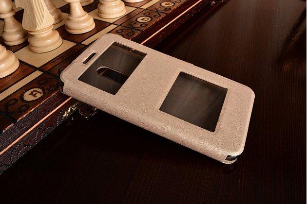 """Фирменный чехол-книжка для Xiaomi Redmi Note 4 5.5"""" золотой с окошком для входящих вызовов и свайпом водоотталкивающий"""