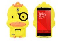 """Фирменная задняя панель-чехол-накладка с объёмным 3D изображением для Xiaomi Redmi Note  """"тематика веселый утенок"""" желтый"""