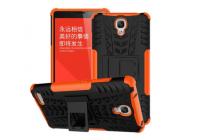 Противоударный усиленный ударопрочный фирменный чехол-бампер-пенал для Xiaomi Redmi Note 1 /Hongmi Note оранжевый