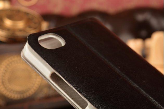 Фирменный чехол-книжка из качественной водоотталкивающей импортной кожи на жёсткой металлической основе для Xiaomi Mi Note/Mi Note Pro черный