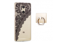"""Фирменная задняя панель-чехол-накладка из прозрачного 3D  силикона с объёмным рисунком для Xiaomi Redmi Pro 5.5""""  """"тематика Черное кружево"""" которая огибает логотип чтобы была видна марка телефона"""