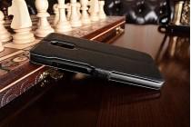 """Фирменный чехол-книжка для Xiaomi Redmi Pro 5.5"""" черный с окошком для входящих вызовов и свайпом водоотталкивающий"""