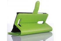 """Фирменный чехол-книжка для Xiaomi Redmi Pro 5.5"""" с визитницей и мультиподставкой зеленый кожаный"""