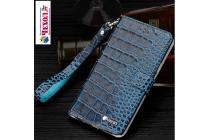 """Фирменный роскошный эксклюзивный чехол с фактурной прошивкой рельефа кожи крокодила и визитницей синий для Xiaomi Redmi Pro 5.5"""". Только в нашем магазине. Количество ограничено"""