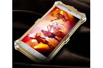"""Противоударный металлический чехол-бампер из цельного куска металла с усиленной защитой углов и необычным экстремальным дизайном для Xiaomi Redmi Pro 5.5"""" золотого цвета"""