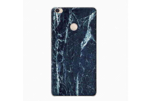 """Фирменная из тончайшего прочного пластика задняя панель-крышка-накладка с рисунком под мрамор для Xiaomi Mi Max 6.4""""  цвет малахит"""