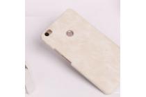 """Фирменная премиальная элитная крышка-накладка из качественной импортной кожи  для Xiaomi Mi Max 6.4"""" """"Ретро"""" белая"""