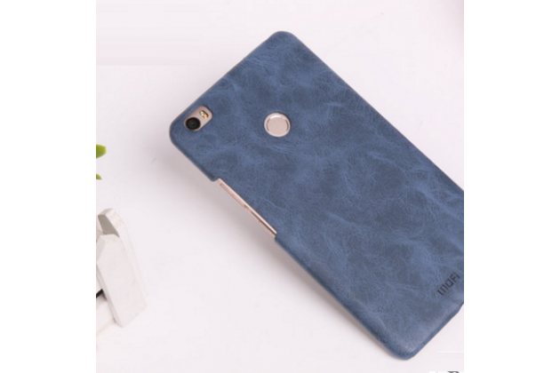 """Фирменная премиальная элитная крышка-накладка из качественной импортной кожи  для Xiaomi Mi Max 6.4"""" """"Ретро"""" синяя"""