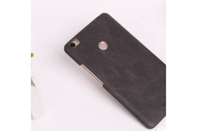 """Фирменная премиальная элитная крышка-накладка из качественной импортной кожи  для Xiaomi Mi Max 6.4"""" """"Ретро"""" черная"""