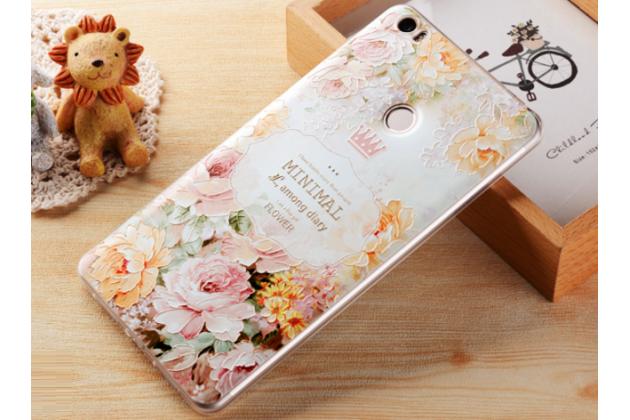 """Фирменная ультра-тонкая силиконовая задняя панель-крышка-накладка  для Xiaomi Mi Max 6.4""""  с 3D объёмным рисунком """"тематика королевские Розы"""""""