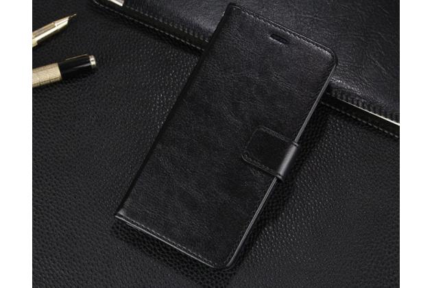 """Фирменный чехол-книжка для Xiaomi Mi Max 6.4"""" с визитницей и мультиподставкой черный кожаный"""