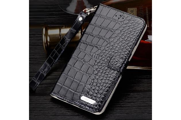"""Фирменный роскошный эксклюзивный чехол с фактурной прошивкой рельефа кожи крокодила и визитницей черный для Xiaomi Mi Max 6.4"""". Только в нашем магазине. Количество ограничено"""