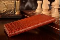 Фирменный роскошный эксклюзивный чехол с объёмным 3D изображением кожи крокодила коричневый для Xiaomi MI3. Только в нашем магазине. Количество ограничено
