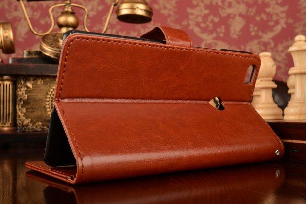 """Фирменный чехол-книжка для Xiaomi Mi Max 6.4"""" с визитницей и мультиподставкой коричневый кожаный"""