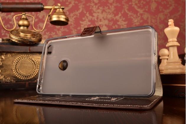 """Фирменный роскошный эксклюзивный чехол с фактурной прошивкой рельефа кожи крокодила и визитницей коричневый для Xiaomi Mi Max 6.4"""". Только в нашем магазине. Количество ограничено"""