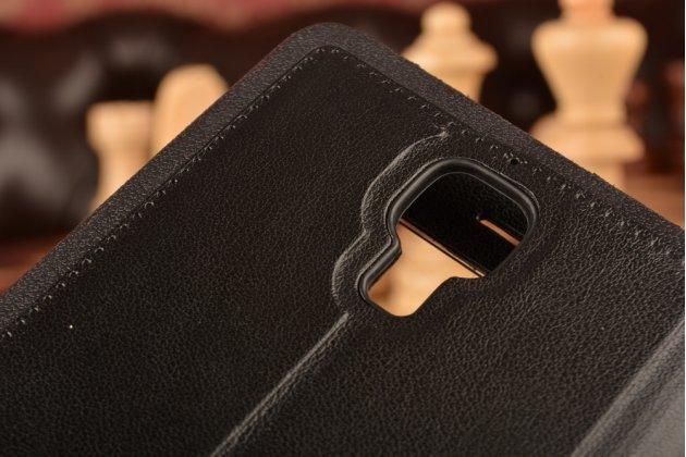 Фирменный оригинальный чехол-книжка для Xiaomi Mi4 черный кожаный с окошком для входящих вызовов