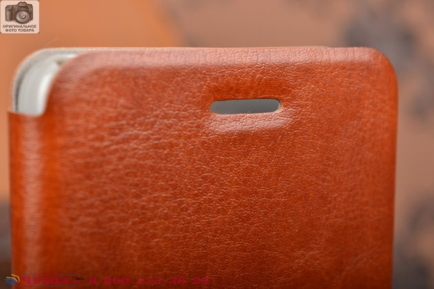 Фирменный чехол-книжка из качественной водоотталкивающей импортной кожи на жёсткой металлической основе для Xiaomi Mi4  коричневый