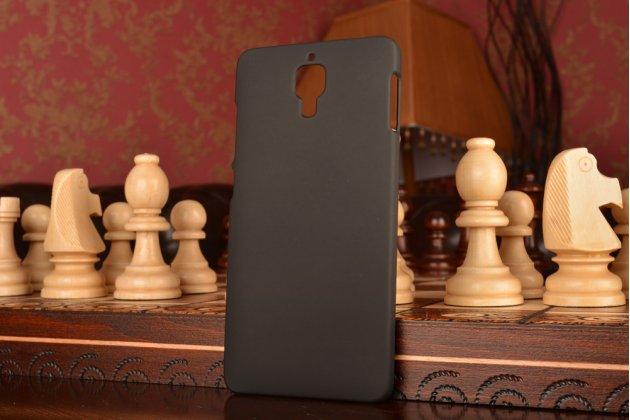 Фирменная задняя панель-крышка-накладка из тончайшего и прочного пластика для Xiaomi Mi4 черная