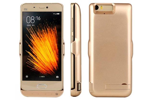 Чехол-бампер со встроенной усиленной мощной батарей-аккумулятором большой повышенной расширенной ёмкости 10000 mAh для Xiaomi Mi6 золотой + гарантия