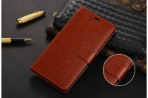 Фирменный чехол-книжка  из качественной импортной кожи с застёжкой и мультиподставкой для Xiaomi Mi6 коричневая
