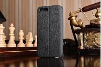 Фирменный чехол-книжка из качественной водоотталкивающей импортной кожи на жёсткой металлической основе для Xiaomi Mi6 черный