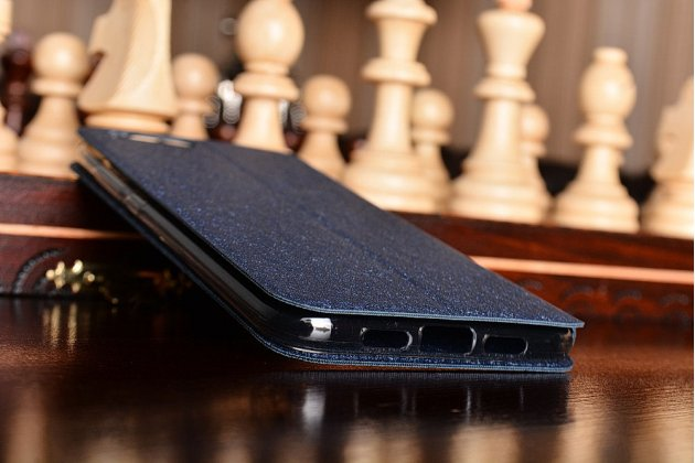 Фирменный чехол-книжка из качественной водоотталкивающей импортной кожи на жёсткой металлической основе для Xiaomi Mi6 синий