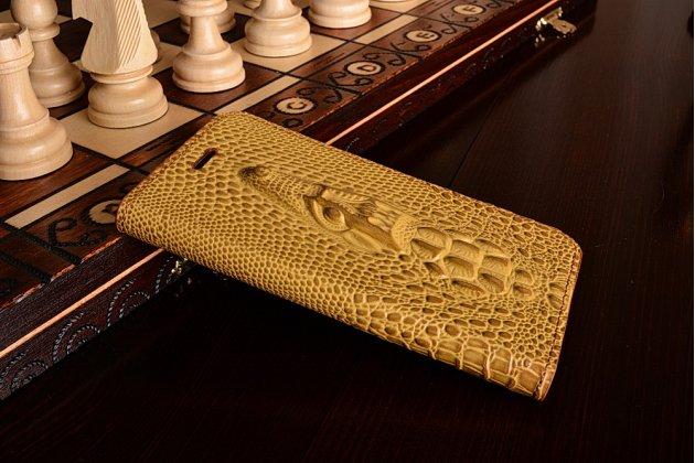 Фирменный роскошный эксклюзивный чехол с объёмным 3D изображением рельефа кожи крокодила коричневый для Xiaomi Mi6 . Только в нашем магазине. Количество ограничено