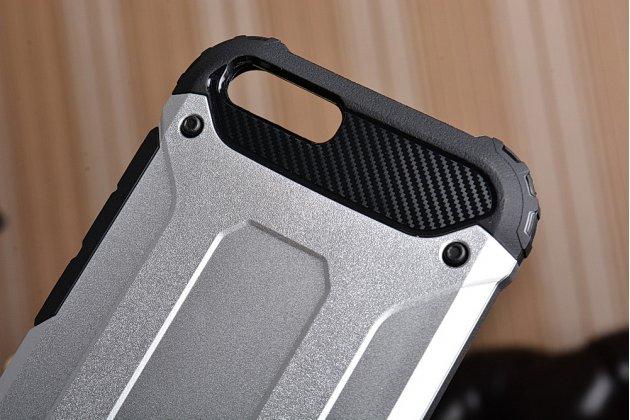 Противоударный усиленный ударопрочный фирменный чехол-бампер-пенал для Xiaomi Mi6 серебристый