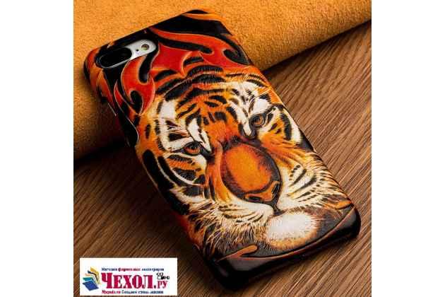 """Фирменная роскошная задняя панель-крышка обтянутая импортной кожей для  Xiaomi Mi6  """"тематика Тигр"""""""