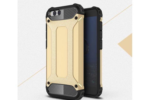 Противоударный усиленный ударопрочный фирменный чехол-бампер-пенал для Xiaomi Mi6 золотой