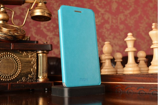 """Фирменный чехол-книжка из качественной водоотталкивающей импортной кожи на жёсткой металлической основе для Xiaomi Hongmi 2 2A/ Redmi 2 / Redmi 2 Pro 4.7"""" бирюзовый"""