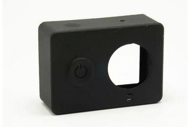 Фирменный мягкий силиконовый чехол для спортивной экшн-камеры Xiaomi Yi + крышка-заглушка для объектива черный