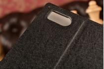 Фирменный чехол-книжка для Xiaomi Mi3 черный с окошком для входящих вызовов и свайпом водоотталкивающий