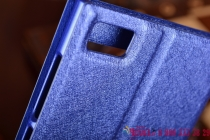 Фирменный чехол-книжка для Xiaomi Mi3 синий с окошком для входящих вызовов и свайпом водоотталкивающий