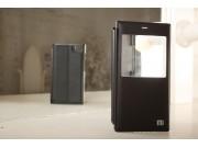 Фирменный оригинальный чехол-книжка для Xiaomi MI3 черный кожаный с окошком для входящих вызовов..