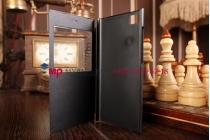Фирменный оригинальный чехол-книжка для Xiaomi MI3 черный кожаный с окошком для входящих вызовов