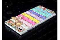 Фирменная роскошная элитная пластиковая задняя панель-накладка украшенная стразами кристалликами и декорированная элементами для Xiaomi MI3 радужная