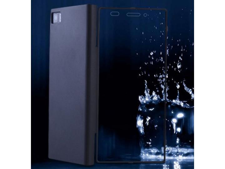 Фирменный водоотталкивающий противоударный чехол-книжка со встроенным закаленным стеклом для Xiaomi Mi3 черный..