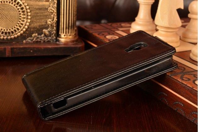 """Фирменный оригинальный вертикальный откидной чехол-флип для Xiaomi Mi2A черный из качественной импортной кожи """"Prestige"""" Италия"""