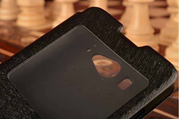 Фирменный оригинальный чехол-книжка для Xiaomi Mi2S черный кожаный с окошком для входящих вызовов и свайпом
