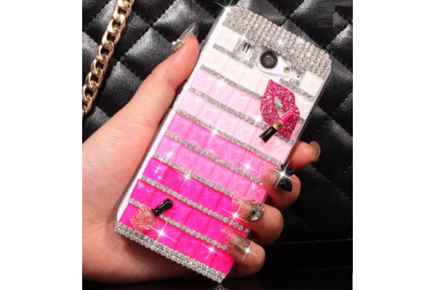 Фирменная роскошная элитная пластиковая задняя панель-накладка украшенная стразами кристалликами и декорированная элементами для Xiaomi mi2s малиновая