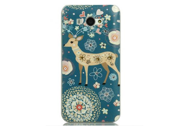 """Фирменная роскошная задняя панель-чехол-накладка с безумно красивым расписным узором на Xiaomi Mi2S  """"тематика Олени с цветами"""""""