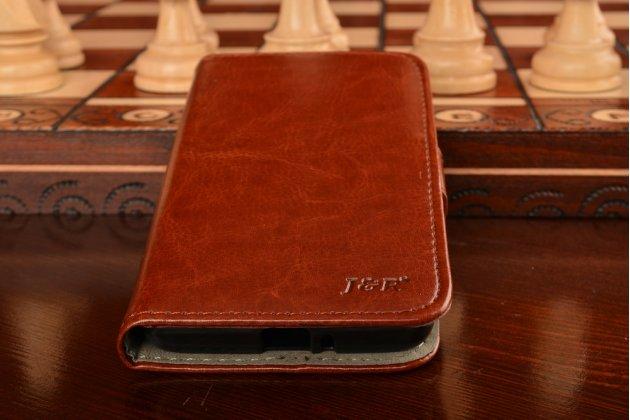 Фирменный чехол-книжка из качественной импортной кожи с мульти-подставкой застёжкой и визитницей для Сиаоми Ред Райс 1С/Ксиаоми Ред Райс коричневый