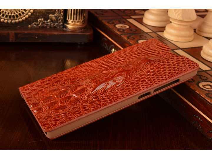 Фирменный роскошный эксклюзивный чехол с объёмным 3D изображением кожи крокодила коричневый для Xiaomi Red Ric..