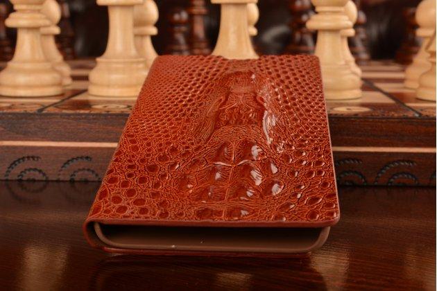 Фирменный роскошный эксклюзивный чехол с объёмным 3D изображением кожи крокодила коричневый для Xiaomi Red Rice 1S. Только в нашем магазине. Количество ограничено