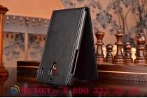 """Фирменный оригинальный вертикальный откидной чехол-флип для Xiaomi Red Rice 1S черный кожаный """"Prestige"""" Италия"""